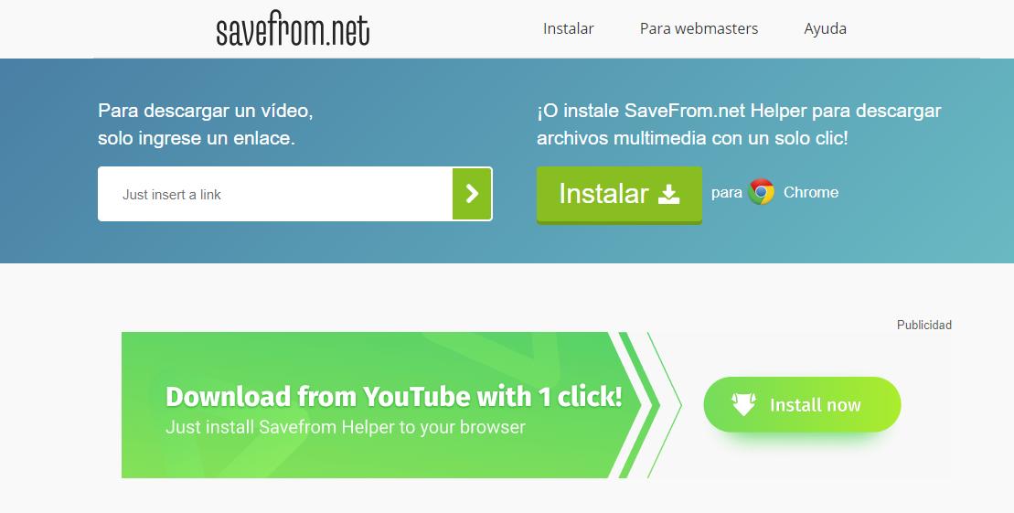 Savefrom para bajar música de youtube web