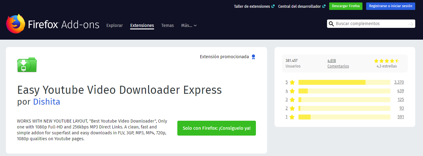 Easy Youtube Video Downloader Express extension de firefox descarga musica