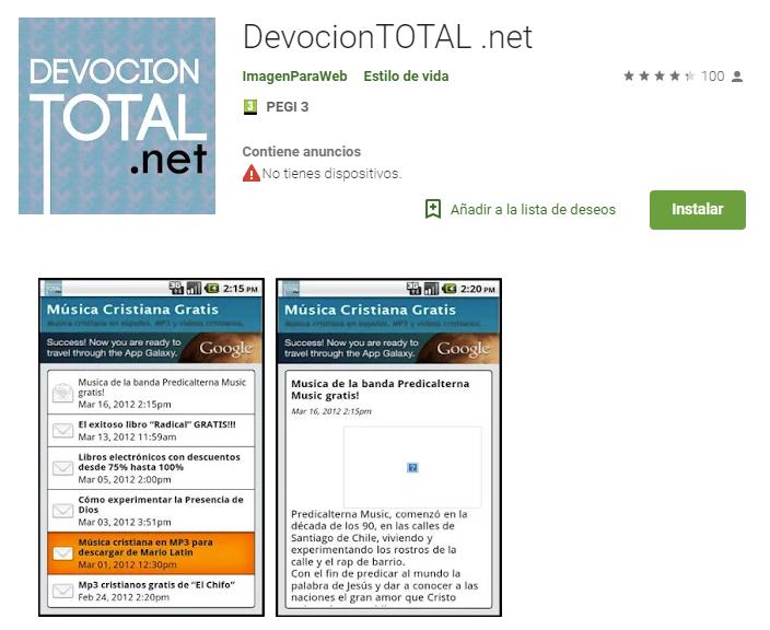devocion total.net app de descarga musica cristiana