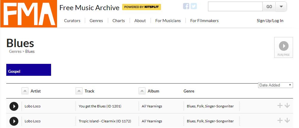 Free Music Archive Web página de descarga de música libre