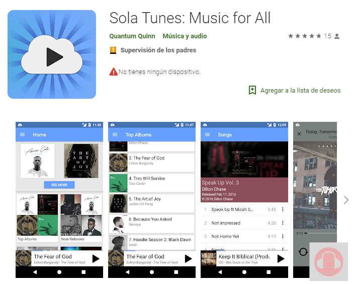 Sola Tunes app para bajar música cristiana