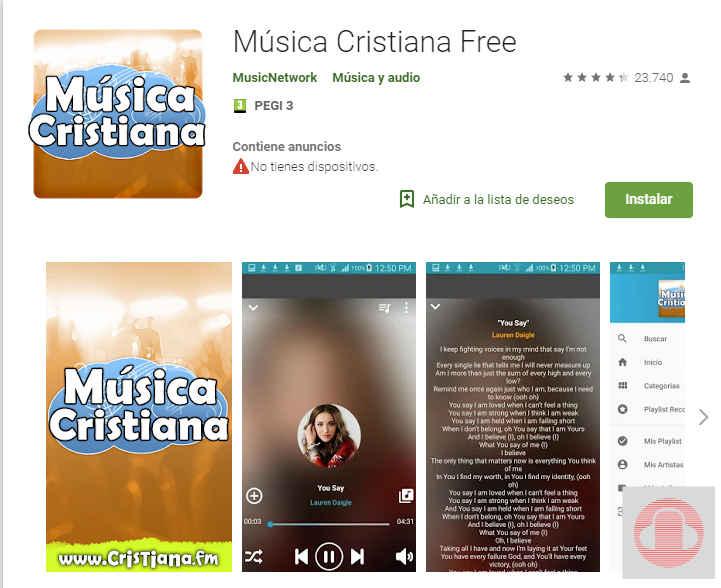 Descargar música cristiana free app para Android