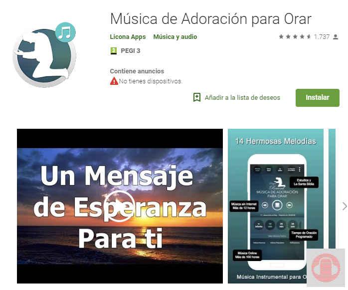 Música de adoración para orar app de Google Play de música cristiana