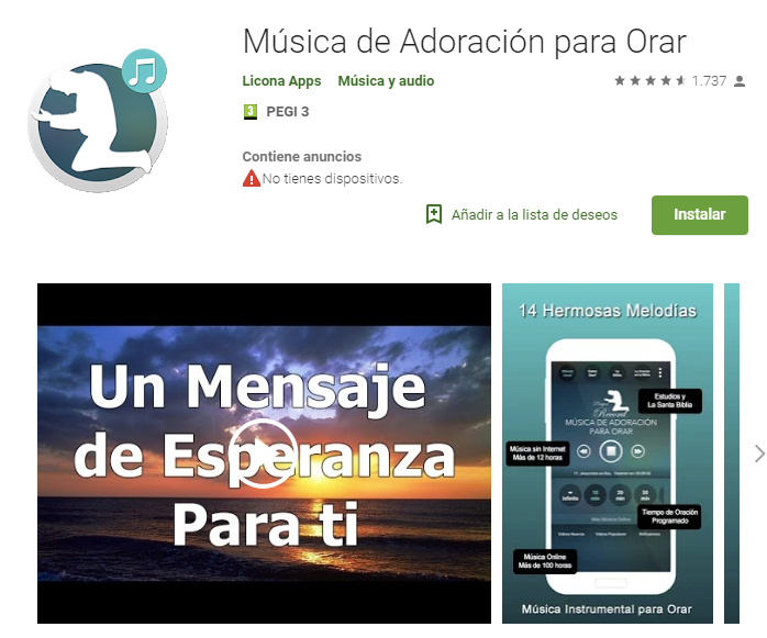 musica de adoración para orar app de Google Play de música cristiana