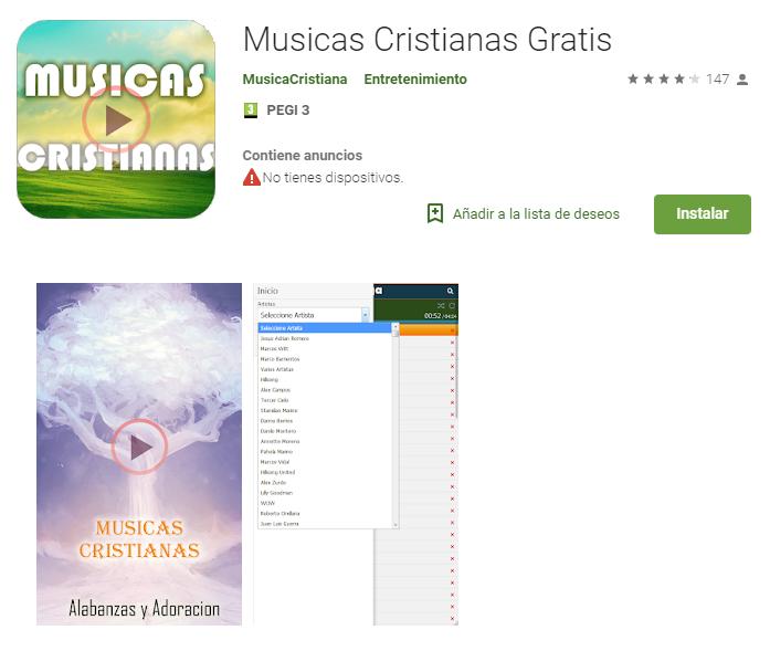 Música cristiana gratis app android